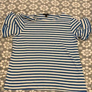 Blue and white striped J.Crew shirt
